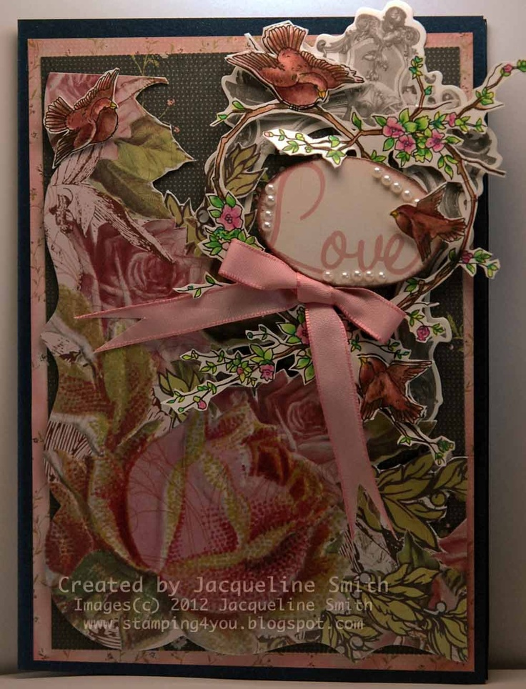 another card using bird with a wreath digi stamp