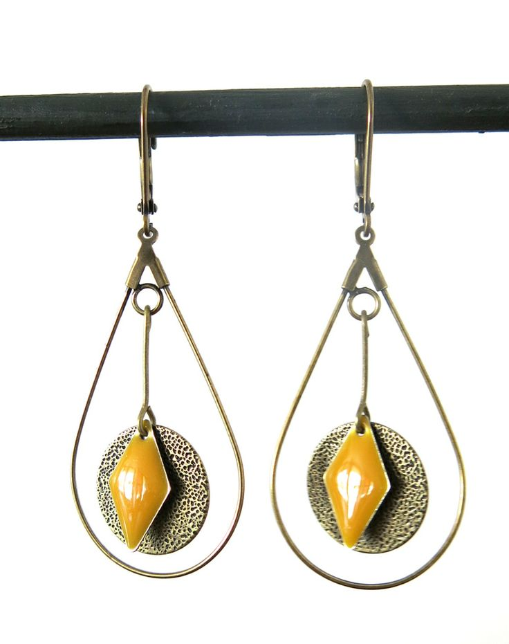 Image of BOUCLES D'OREILLES JAUNE MOUTARDE - REF.1561
