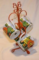 Vintage 70s orange mugs tree stand metal