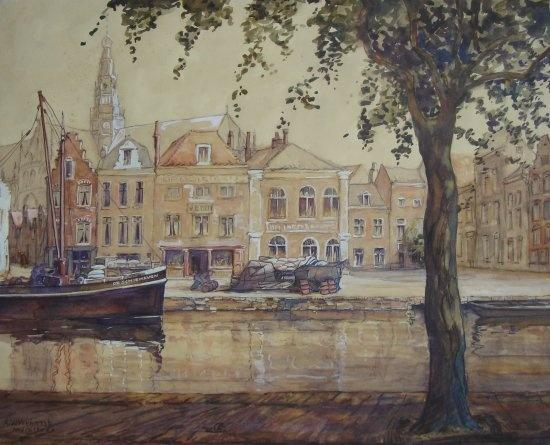 A.W. Verhorst (1879-1947)  -  Gezicht op Haarlem  -  Aquarel  -  59 x 48 cm  -  gesigneerd  -  VERKOCHT  Albertus Verhorst werd in 1879 geboren in Enkhuizen. Hij had een opleiding akte tekenen. Daarna vormde hij zichzelf. Hij woonde en werkte in Haarlem, Beverwijk, Velsen en vanaf 1910 in Heemstede. Hij was schilder, aquarellist, tekenaar en zijn onderwerpen waren landschappen, stadsgezichten, stillevens en kerkinterieurs. Zijn werken kenmerken zich door een eigen kleurgebruik.