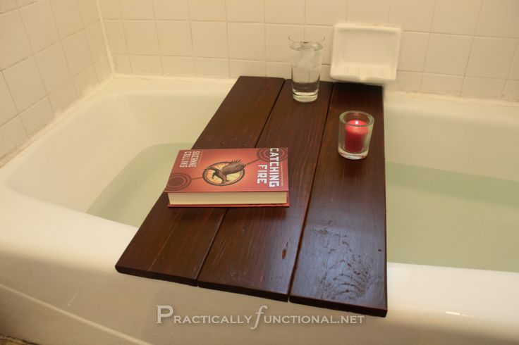 Upcycle a pallet to a bath shelf: Finished bath shelf - Love this...for years from now when I can actually take a long bath!  :-)