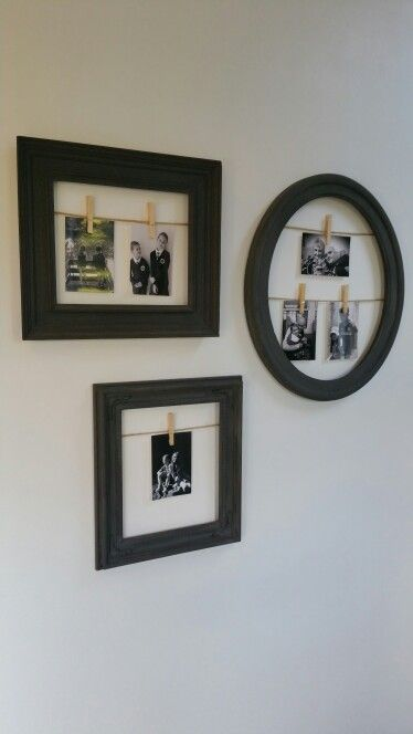 Graphite Photo frame Shabby Ideas Pegs String  xx