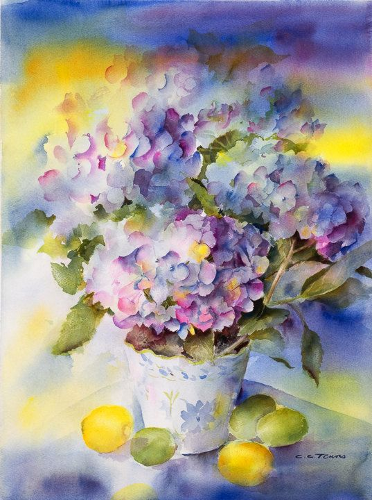 Hydrangeas Matted Watercolor Print - Fine Art Giclee Print - from watercolor painting by ConnieTownsArt - matted to 16x20 on Etsy, $75.00