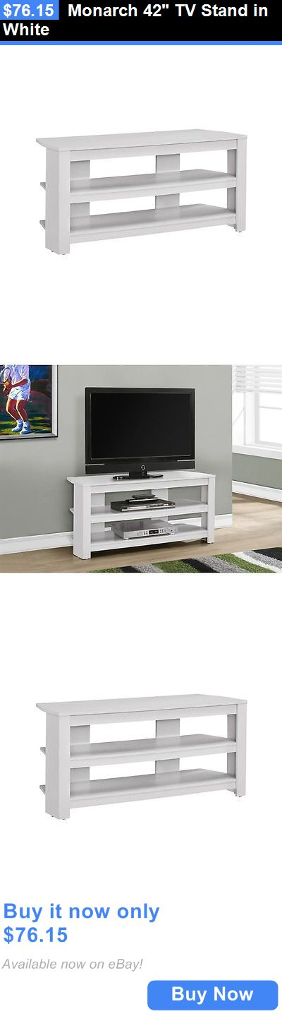 Entertainment Units TV Stands: Monarch 42 Tv Stand In White BUY IT NOW ONLY: $76.15