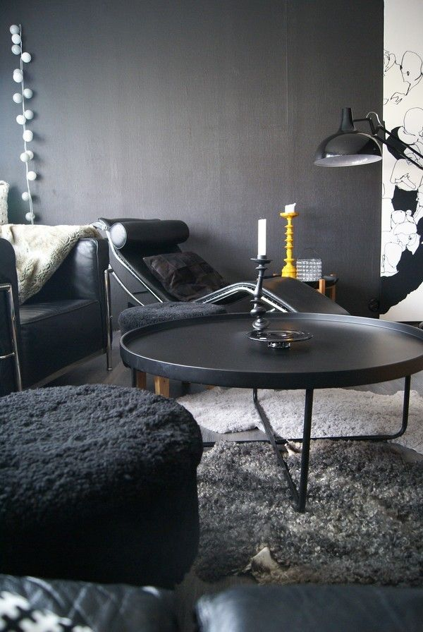 Svart Runt Soffbord Kaffebord Inredning Vardagsrum
