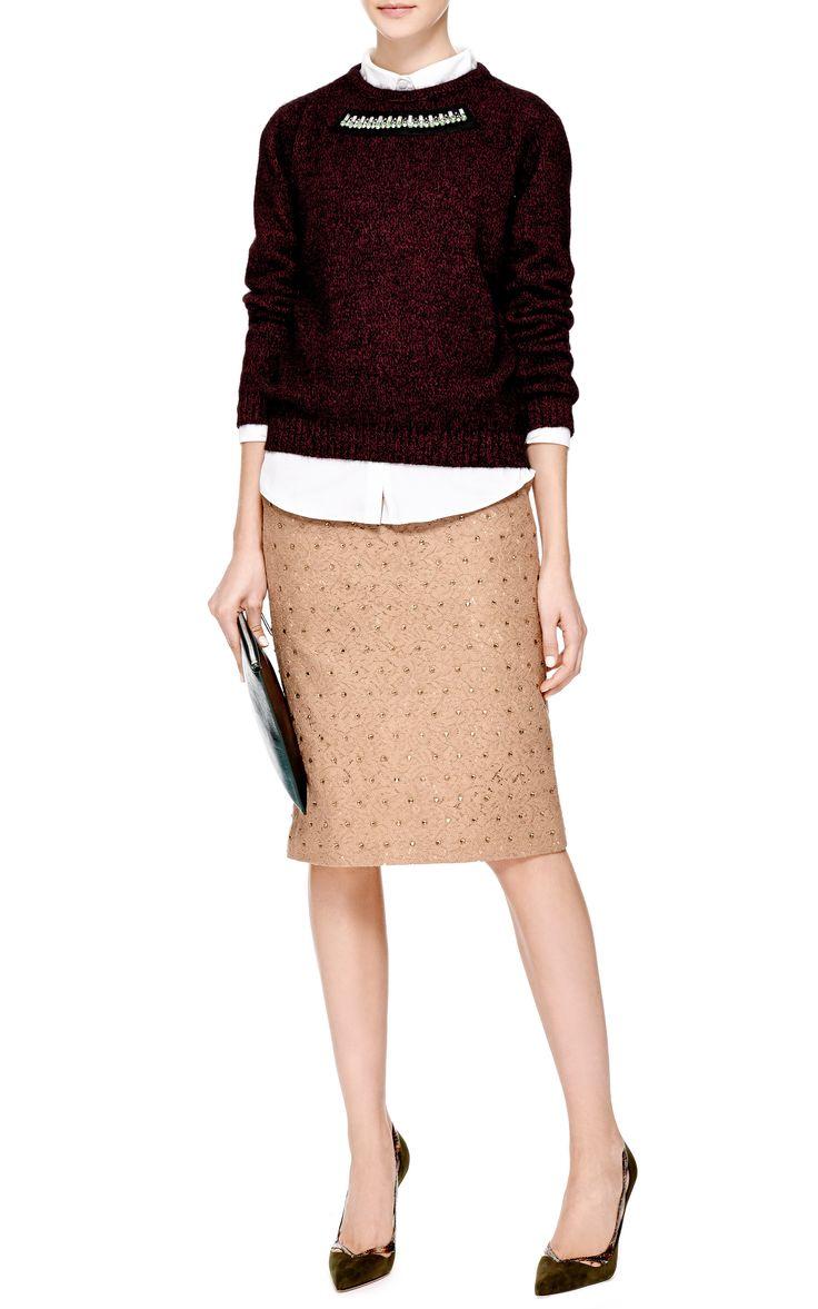 Genie Crystal-Embellished Lace Skirt in Camel by No. 21 - Moda Operandi
