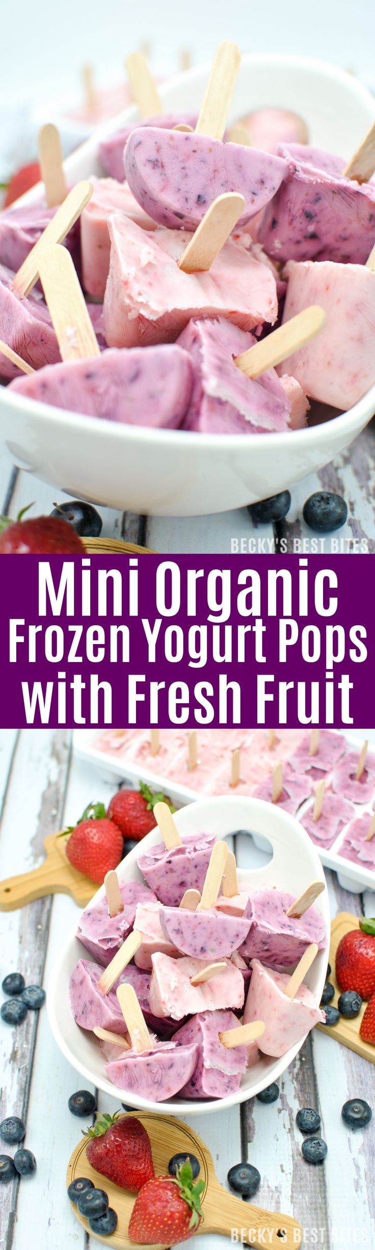 Mini Organic Frozen Yogurt Pops with Fresh Fruit is an easy healthy summer kid-friendly snack made with Annie's Organic Whole Milk Yogurt and organic fruit. | beckysbestbites.com