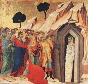 resurrección de Lázaro, temperas de Duccio Di Buoninsegna (1257-1318, Italy)