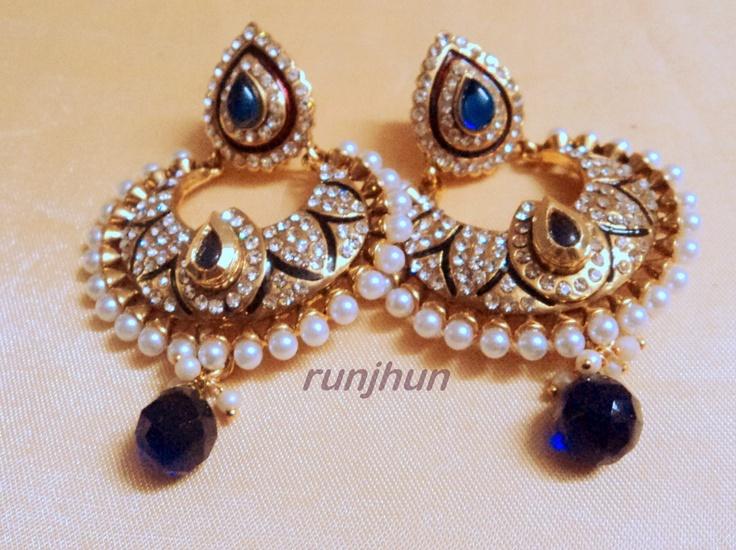 stone and pearls polki earrings blue-Jewellery-Runjhun Designer Jewellery and Tanjore Craft