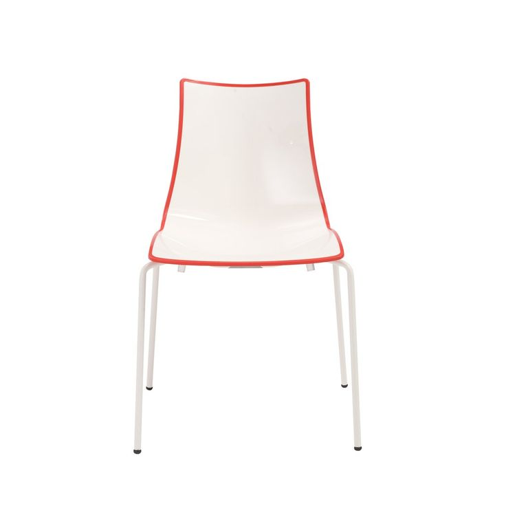 It's not bipolar it's bicolor. The polymer seat and back are white and edged with either blue or red. The edge color wraps around the seat and is the color of the chair from behind and below. It's a simple idea with big design impact. And of course, comfort never...