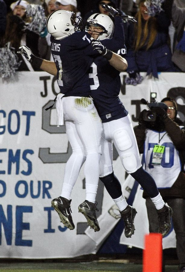 PENN STATE – FOOTBALL 2013 – Jesse James #18 of the Penn State Nittany Lions celebrates after scoring on a 46 yard pass against the Nebraska Cornhuskers during the game on November 23, 2013 at Beaver Stadium in State College, Pennsylvania. (Photo by Justin K. Aller/Getty Images)