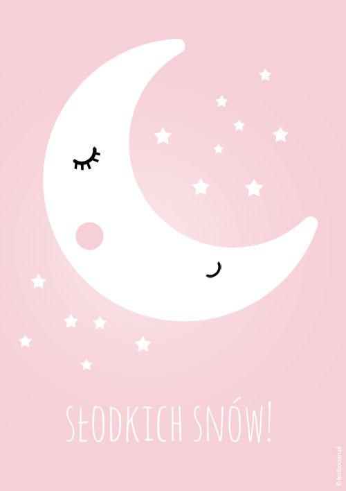 Plakat ze śpiącym księżycem. Do pobrania w 5 pastelowych kolorach. Wybierz swój kolor! Pobierz, wydrukuj i powieś na ścianie!