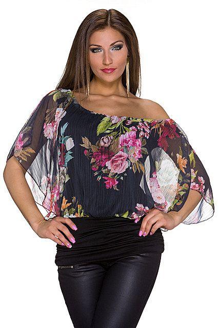 Blusa camiseta estampado floral multicolor cuello barco media manga ajustado en la cintura | Negro, Rosa Fucsia/Multicolor | Moda Fashion
