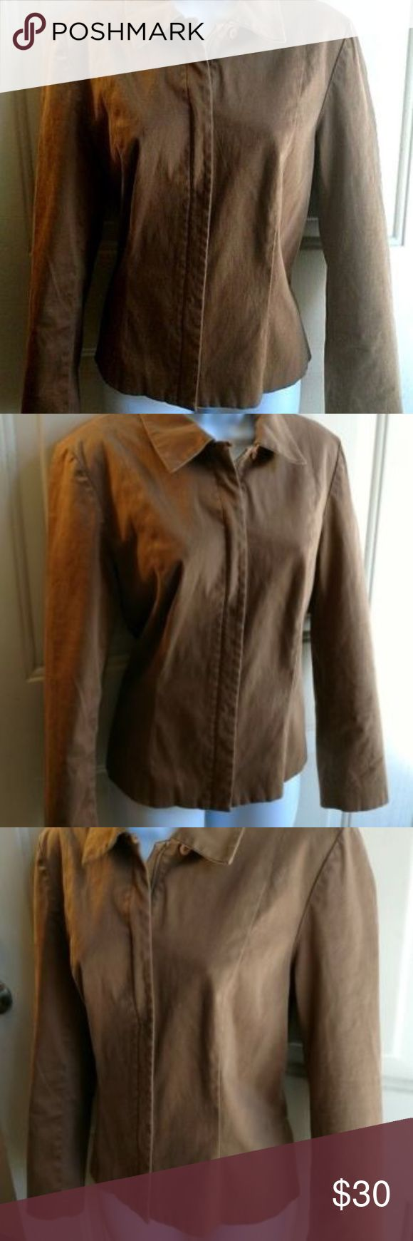 "Ann Taylor Womens Brown Faux Suede Zipper Jacket Ann Taylor camel brown faux suede zip up jacket. Size medium. Has a little stretch. Gently used with no flaws.   Chest: 18""  Length: 24""   B5-004 Ann Taylor Jackets & Coats"