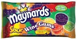 Maynards Sour Wine Gums are chewy fruity juicy gums just like the original but sour!