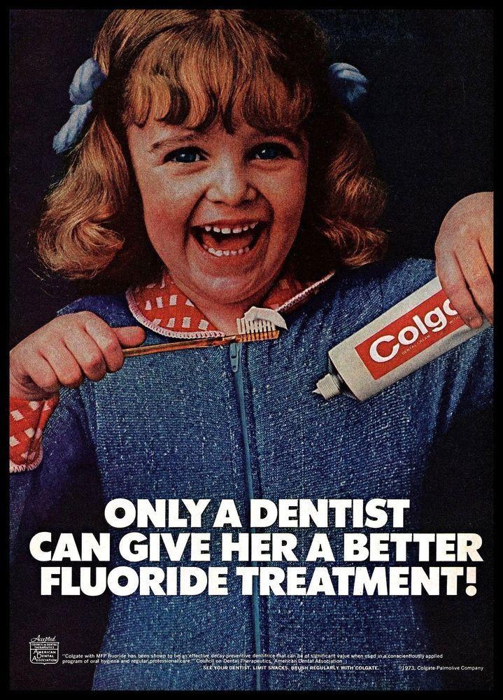 1973 Colgate #Toothpaste Fluoride Happy #LittleGirl #Vintage #1970s Photo Print #Ad #Colgate