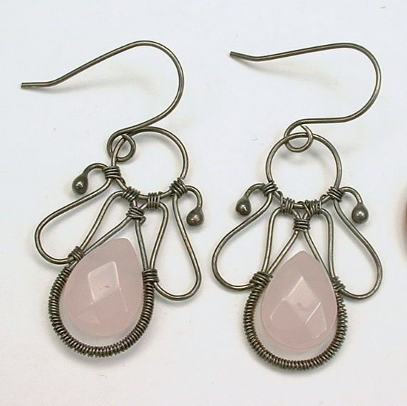 Angel Wings Rose Quartz Argentium Sterling Wire Wrapped Earrings $28 - Healing Crystal Jewelry http://www.healingcrystaljewelry.ca/products/angel-wings-rose-quartz-argentium-sterling-wire-wrapped-earrings