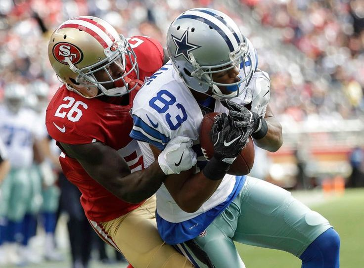 COWBOYS 24 - 49'ers -17:     Dallas Cowboys wide receiver Terrance Williams (83) catches a touchdown pass against San Francisco 49ers cornerback Tramaine Brock during the first half of an NFL football game in Santa Clara, Calif., Sunday, Oct. 2, 2016.