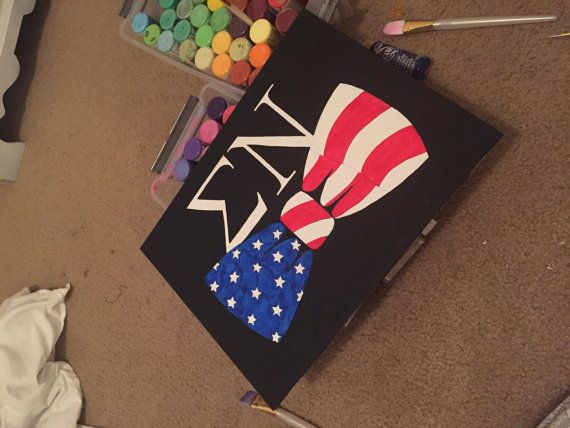 fraternity letters and american flag painted bow tie canvas                                                                                                                                                                                 More