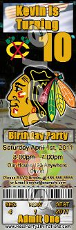 CHICAGO BLACKHAWKS TICKET STYLE INVITATIONS (WITH ENVELOPES)