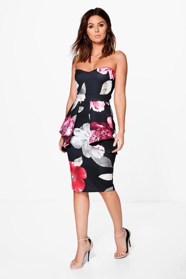boohoo Megan Floral Bandeau Peplum Midi Dress