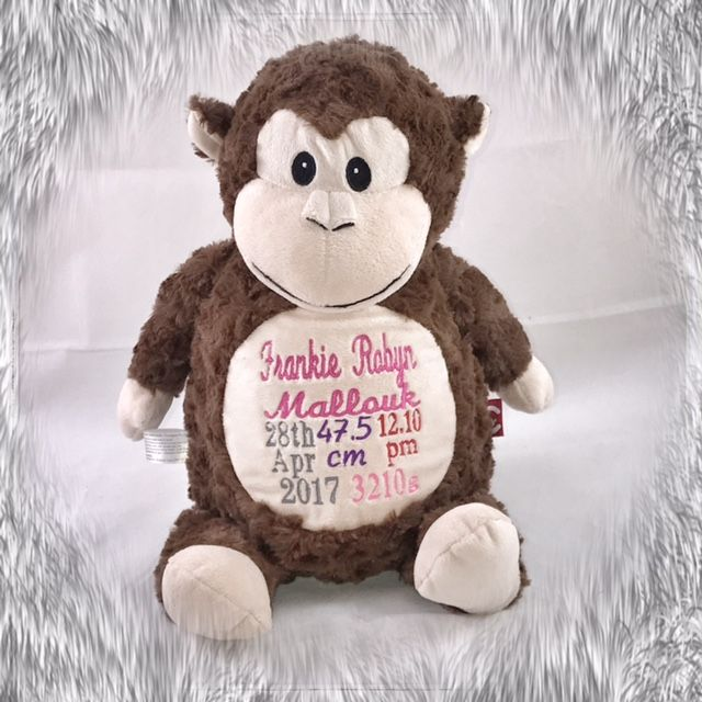 Personalised Brown Monkey Cubbie with Birth Design for a sweet little girl http://teddybearsandgifts.com.au/personalised-hug-me-cubby-monkey-birth-design/