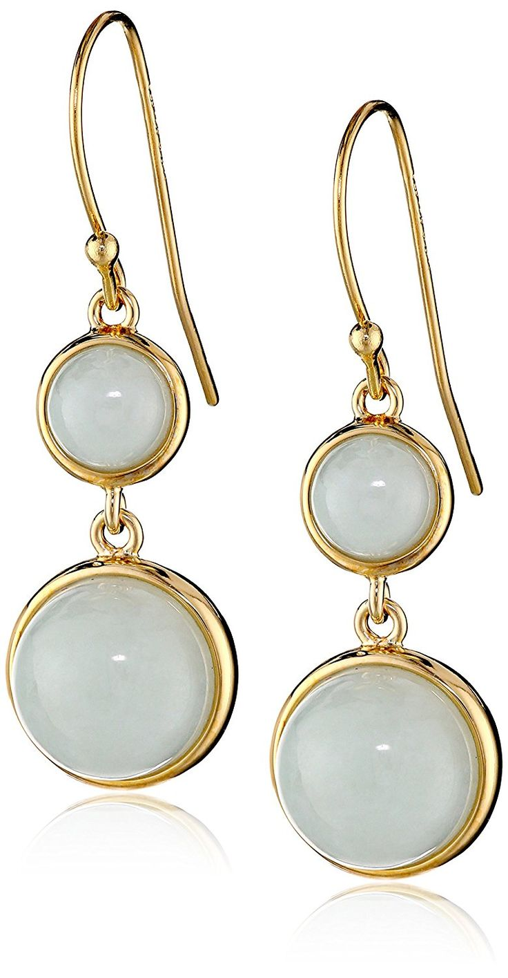 18k Yellow Gold-Plated Sterling Silver Jade Half-Ball Dangle Earrings >>> Read more reviews of the product by visiting the link on the image. (This is an Amazon Affiliate link and I receive a commission for the sales)