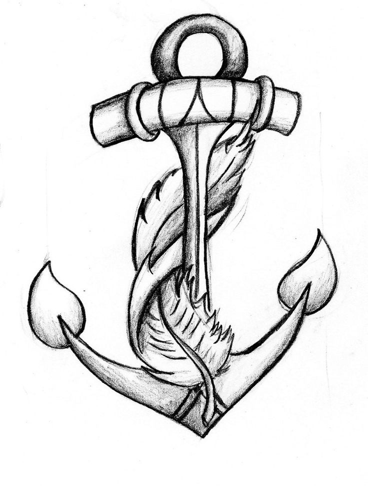 anchor feather tattoo