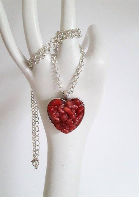 Red heart pendantRed GemstonesResinHeart by DelabudCreations