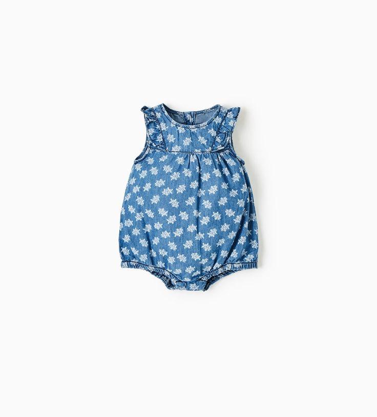 PRINTED DENIM ROMPER SUIT-DRESSES AND ROMPER SUITS-MINI   0-12 months-KIDS   ZARA United States