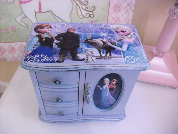 Frozen Wood Handpainted Jewelry Box by CasualEleganceDecor on Etsy