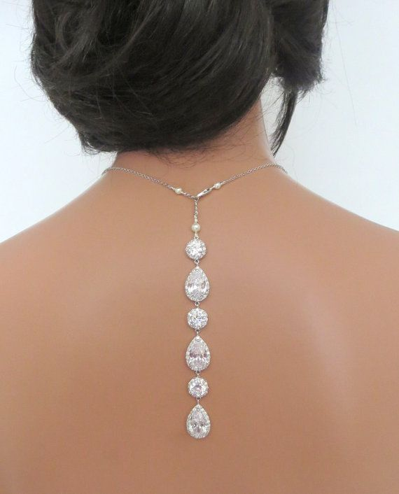 Crystal Backdrop necklace Bridal backdrop necklace by treasures570