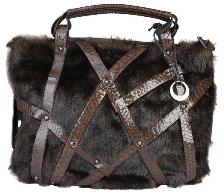 Dámská kabelka Segue, s kožešinkou - hnědá | obujsi.cz - dámská, pánská, dětská obuv a boty online, kabelky, módní doplňky