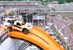 """EYE CATCHER: That a true """"Eye-Catcher"""" Image: Mattel promoting """"Hot Wheel"""" toys with a real hot-wheels-jump"""