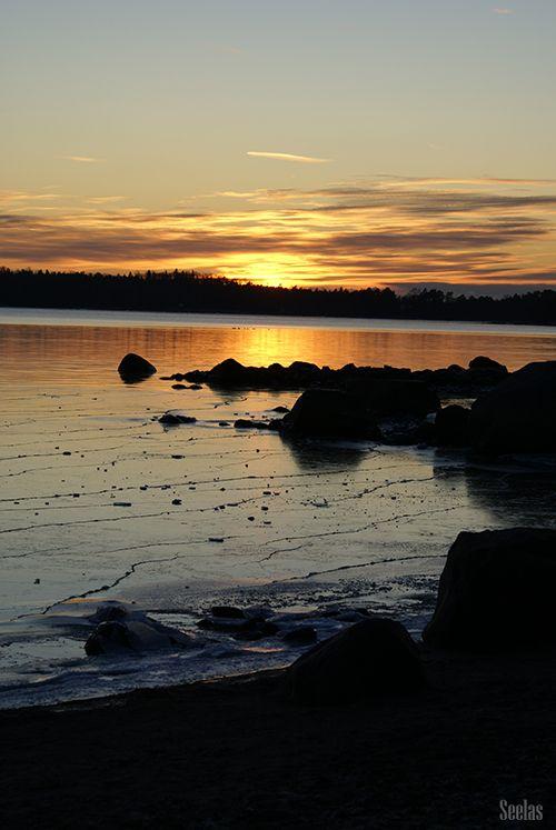 Icy winter sunset