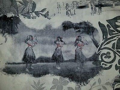 Bishop St 100% Cotton Hawaiian Camp Shirt 2XL Reverse Print Hula Girls Made USA