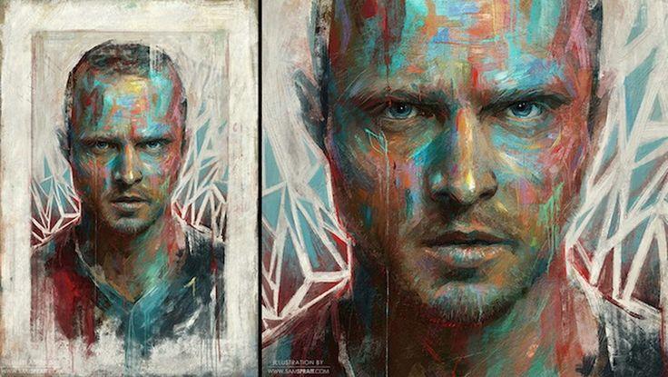 Imágenes Arte Pinturas: Cuadros modernos de rostros masculinos y femeninos, arte de Sam Spratt