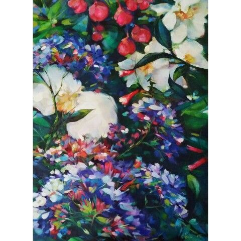 Limonium,  Camellias, Fuchsia. Oil on canvas, 61x91cm. Jenni Stringleman