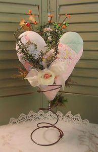 PRIMITIVE Antique Quilt Valentines HEART - on Rusty Spring - with Sweet Annie