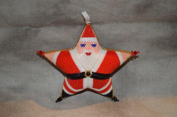 Peyote Santa Star-Large Bead Pattern by AnnanootsTreasures on Etsy