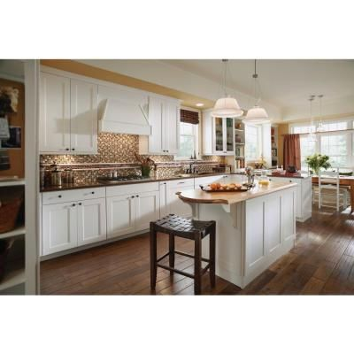 These are the cabinets I liked at Home Depot, American Woodmark Reading Maple in White.