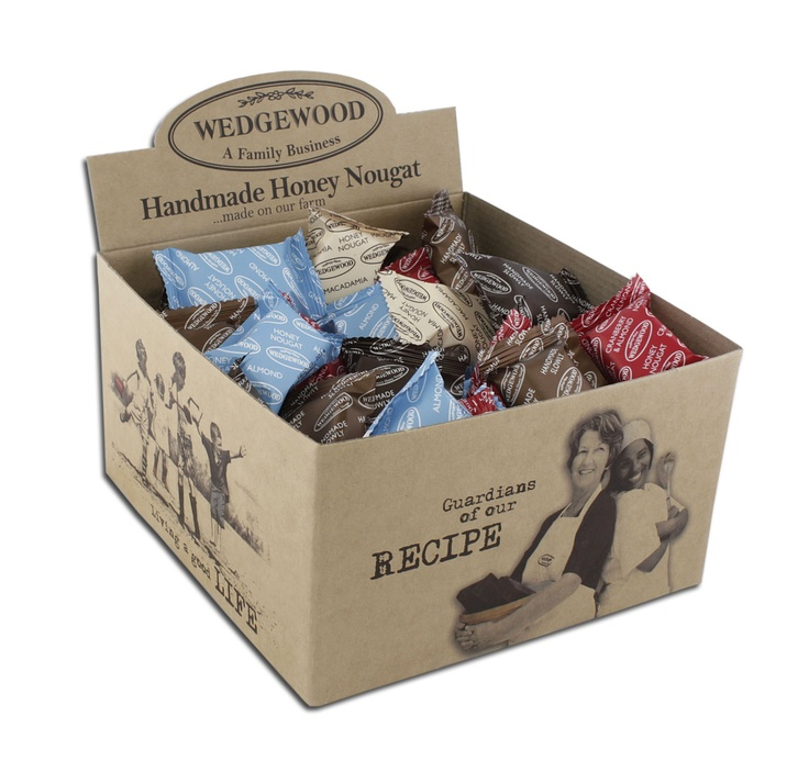 New Wedgewood nougat bonbon display boxes in line with our values