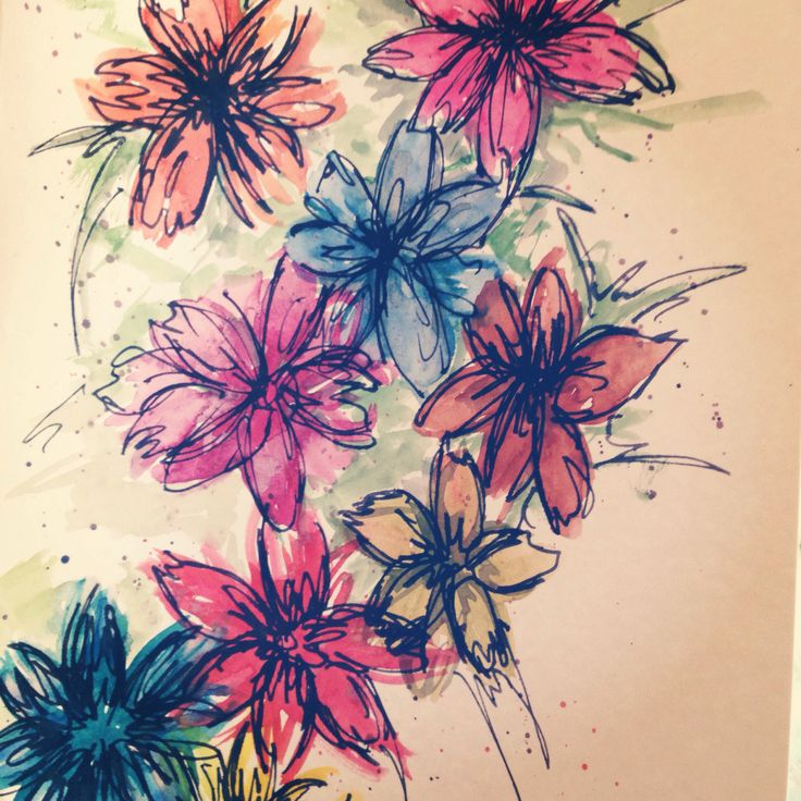Flowers-watercolours and ink