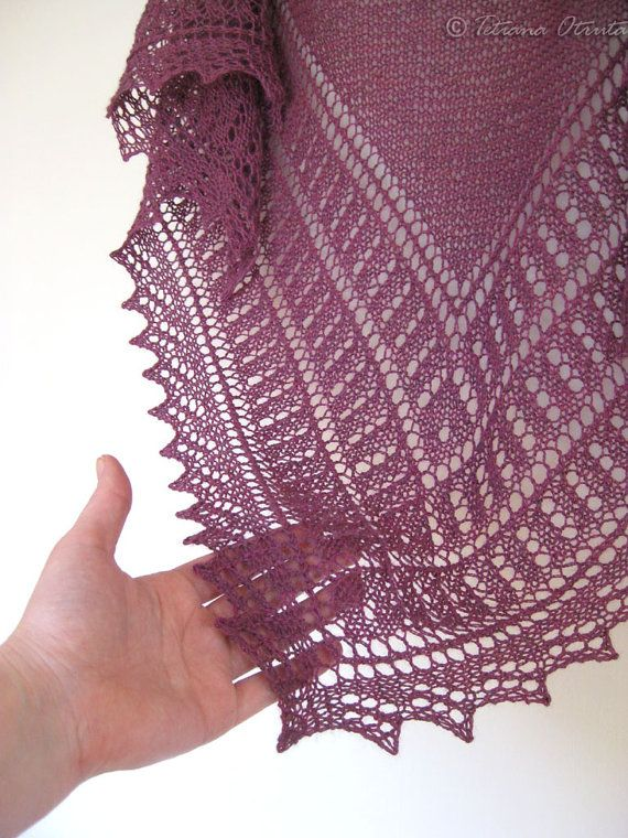 Hand knit lace shawl alpaca bridal wrap purple bridal by Otruta