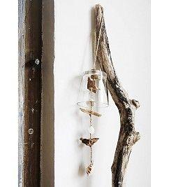 Madam Stoltz Windgong glas-schelp-hout 45cm
