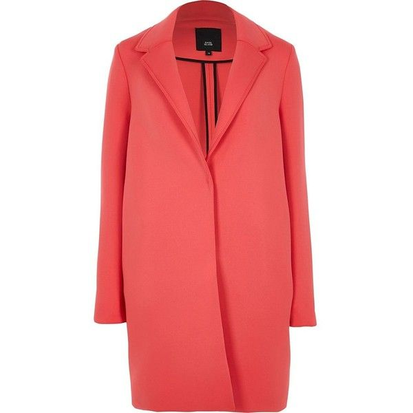 River Island Pink scuba tailored coat ($150) ❤ liked on Polyvore featuring outerwear, coats, coats / jackets, pink, women, red coat, long sleeve coat, river island, pink coats and river island coats
