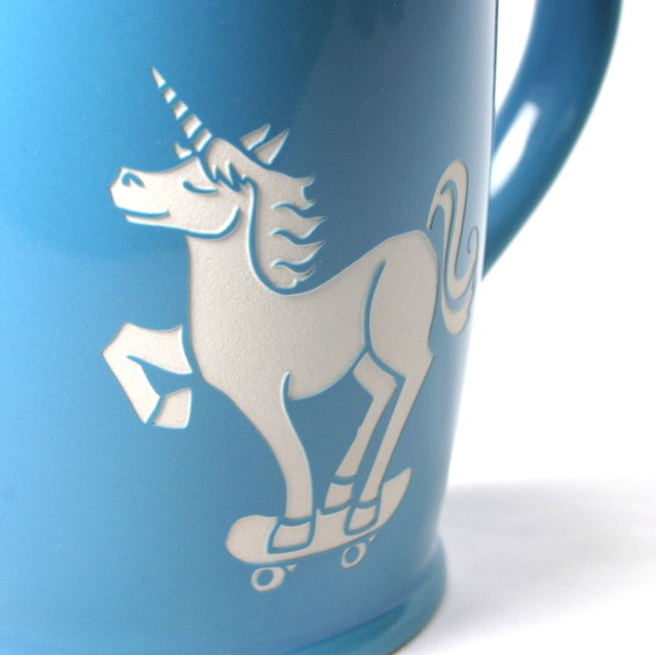 Unicorn skateboarder rules the park. This large, sturdy coffee mug comes in…