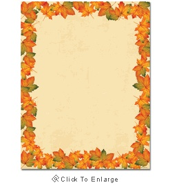 Painted Maple Fall Leaves Autumn Laser & Inkjet Printer Paper - $12.99