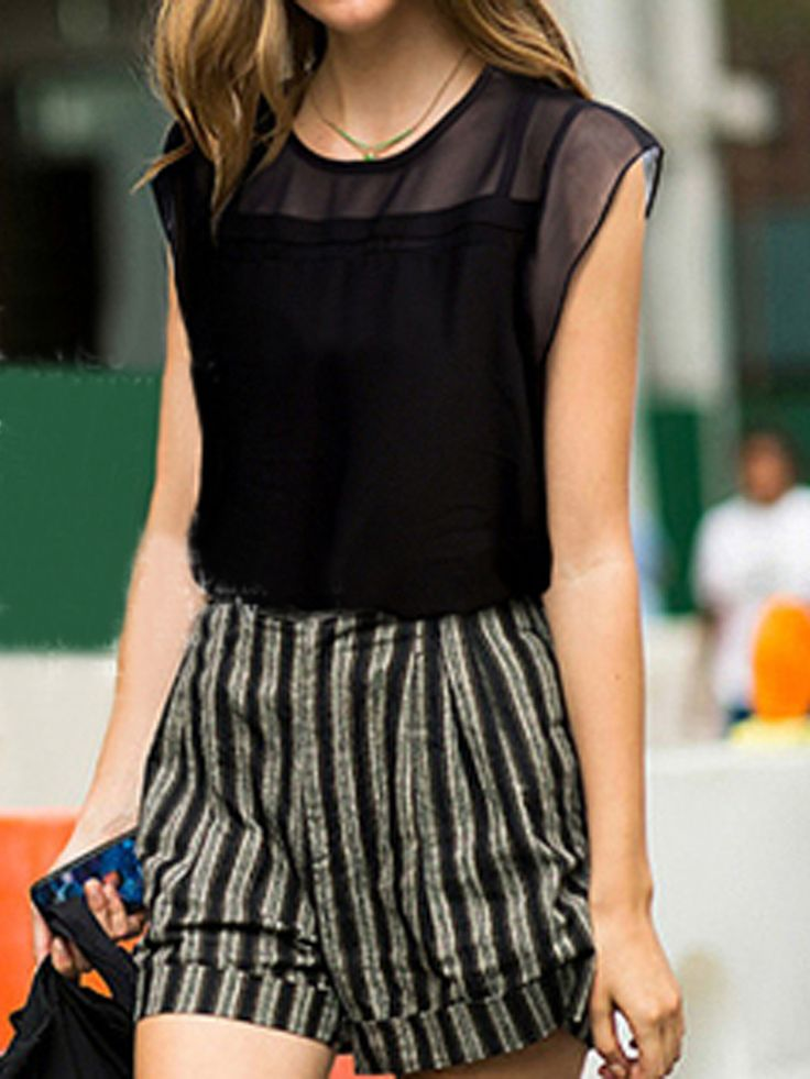Black Chiffon Blouse with Transparent Panel - Fashion Clothing, Latest Street Fashion At Abaday.com