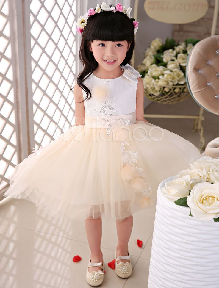 Flower Girl Dresses Champagne Lace Tulle Flowers S…
